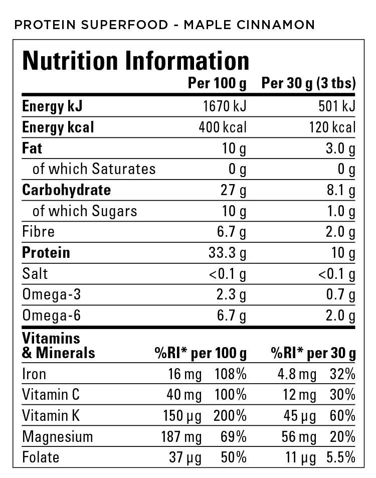 HEMP UK Nutrition Label Smoothie Maple Cinnamon
